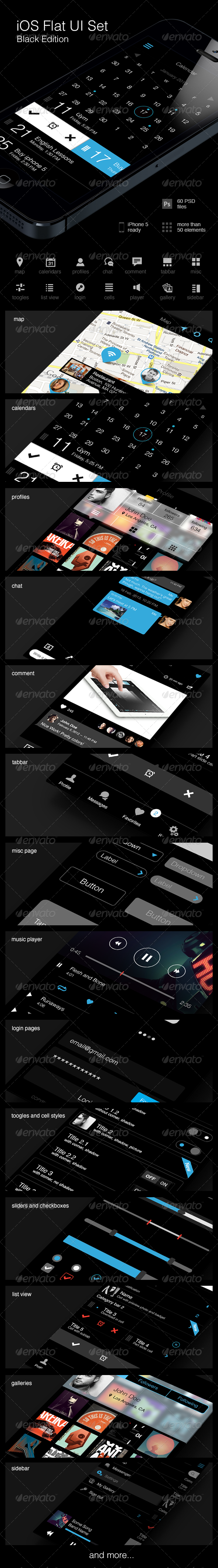 GraphicRiver iOS Flat UI Set Black Edition 5072374