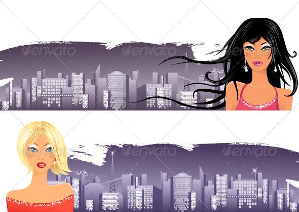 GraphicRiver Girls over Night City 5072422