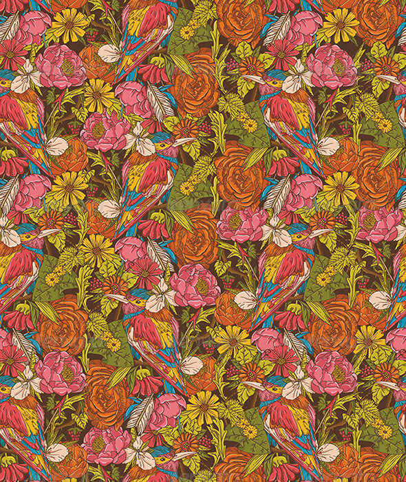 GraphicRiver Vintage Floral Seamless Pattern with Humming Bird 5072770