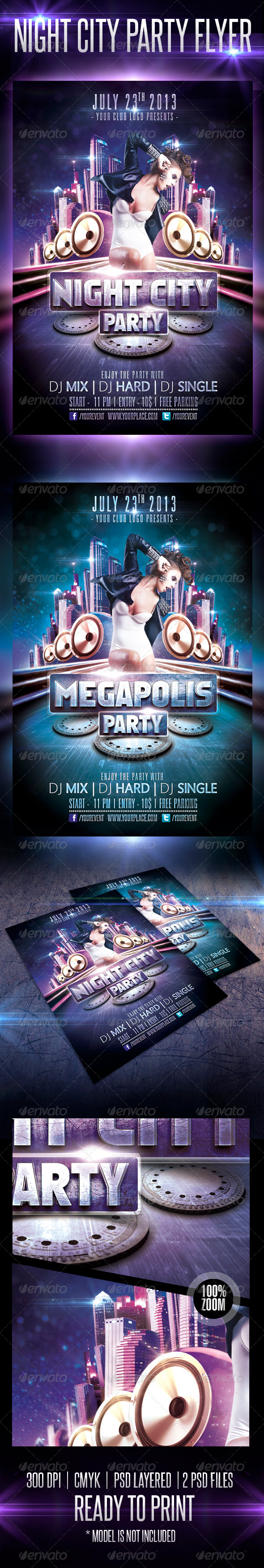 Night City Party Flyer Template - Clubs & Parties Events