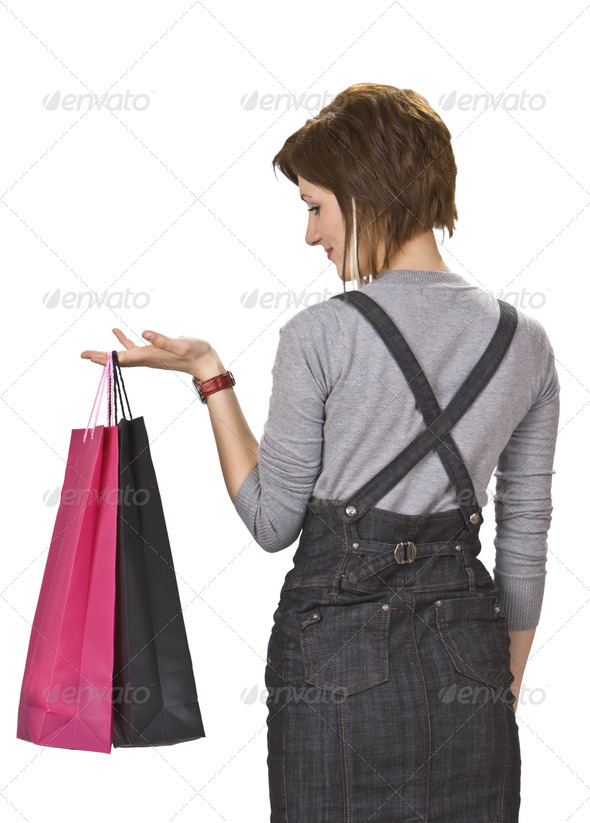 Woman with Two Shopping Bags - Stock Photo - Images