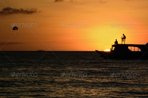 Ocean sunset landscape - Stock Photo - Images