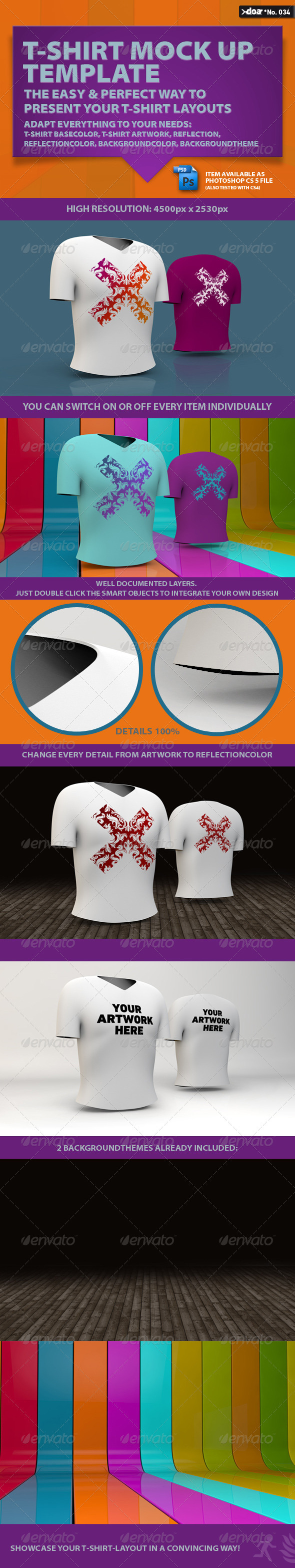 T-Shirt Mock-up Template - T-shirts Apparel