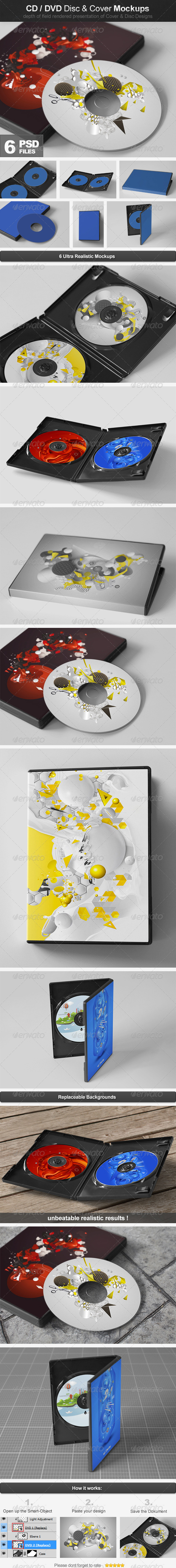 CD/DVD Disc & Cover Mockups - Discs Packaging