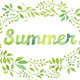 Watercolor Foliage Wreath with the word Summer - GraphicRiver Item for Sale