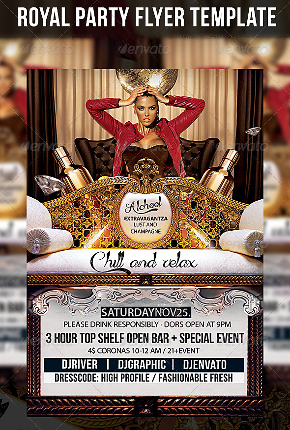 GraphicRiver Roial Party Flyer Template 5011087