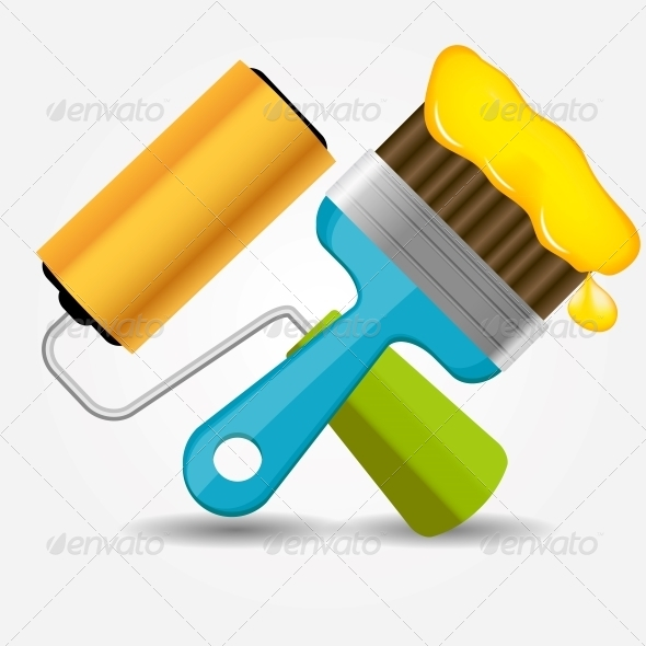 GraphicRiver Paint Roll and Brush Icon Vector Illustration 5075668