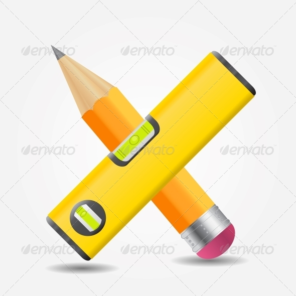 GraphicRiver Level and Yellow Pencil Icon Vector Illustration 5075670