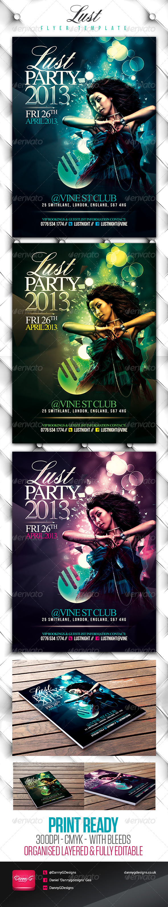 Lust Elegant Flyer 3 Colour Pack - Clubs & Parties Events