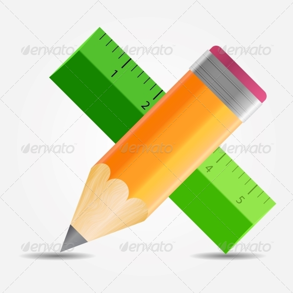 GraphicRiver Pencil and Ruler Icon 5075712