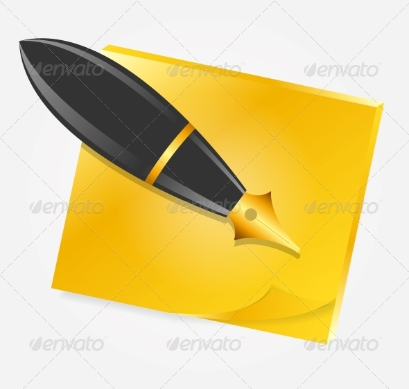 GraphicRiver Yellow Paper with Ink Pen Icon Vector 5075715