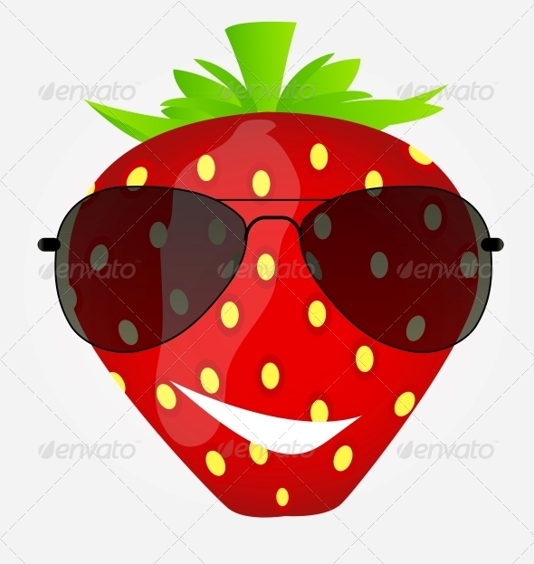 GraphicRiver Funny Sweet Tasty Strawberry in Sunglasses Vector 5075730