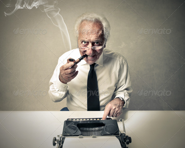 senior typewriter - Stock Photo - Images