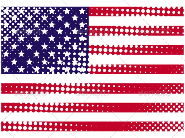 GraphicRiver American Grunge Halftone Flag 5075928