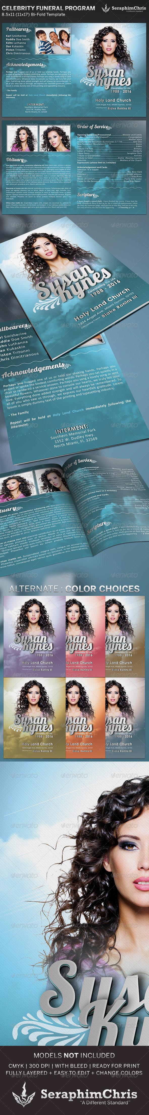 GraphicRiver Celebrity Funeral Program Bi-Fold Template 5077959