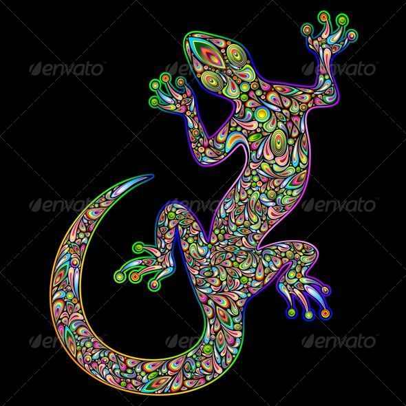 GraphicRiver Gecko Psychedelic Art Design 5067083