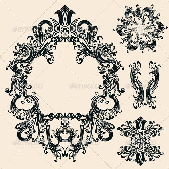 Vintage Decorative Floral Frames Set