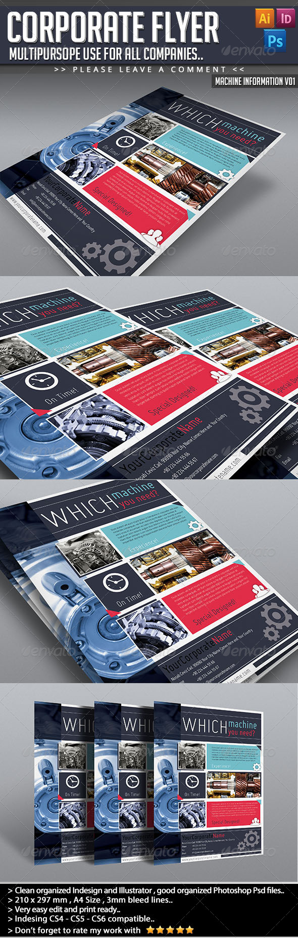 GraphicRiver Corporate Flyer Machine Informations V01 5078752