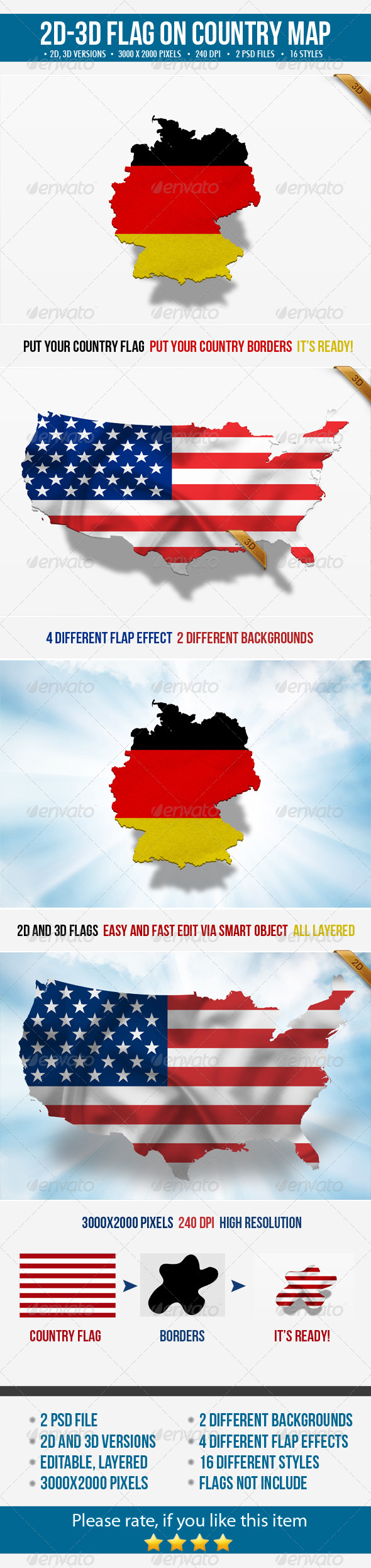 GraphicRiver 2D & 3D Flag on Country Map 5074909