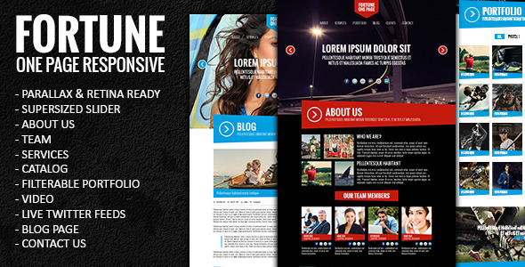 ThemeForest Fortune One Page Responsive Parallax Template 5079350