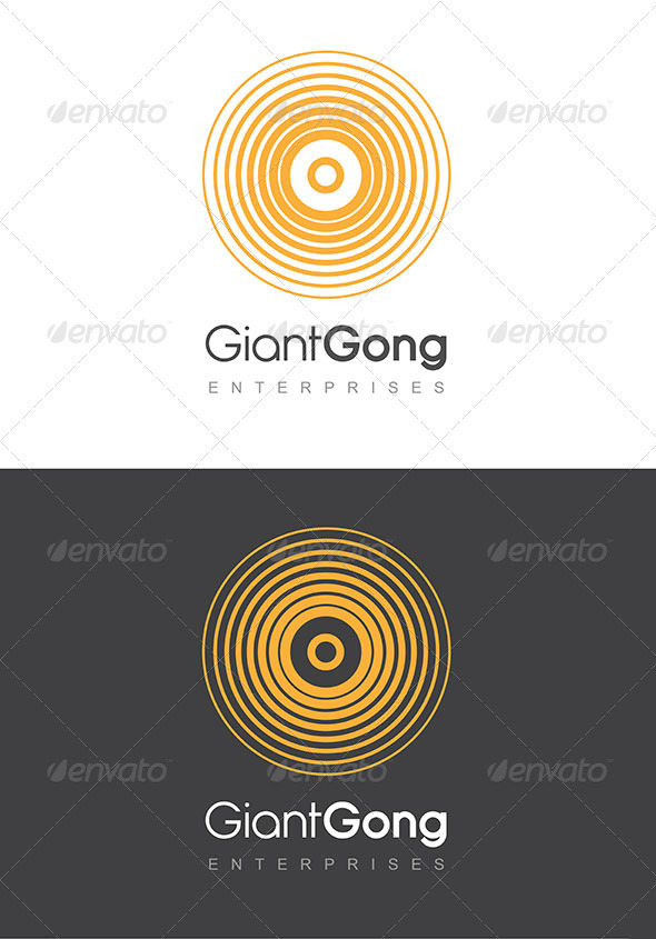 Giant Gong Logo Golden Yellow & Grey Template - Symbols Logo Templates