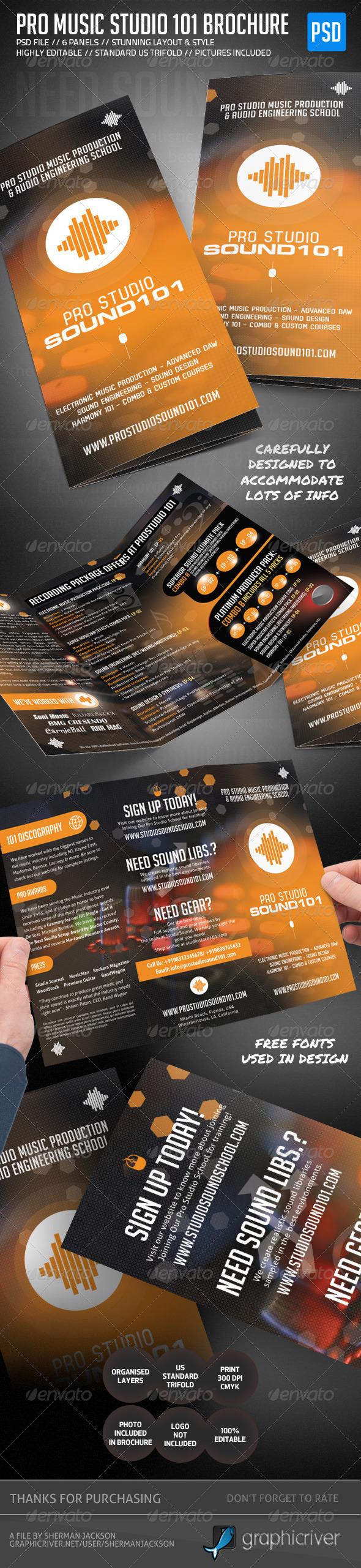 GraphicRiver Pro Music Studio Trifold Brochure 5022640