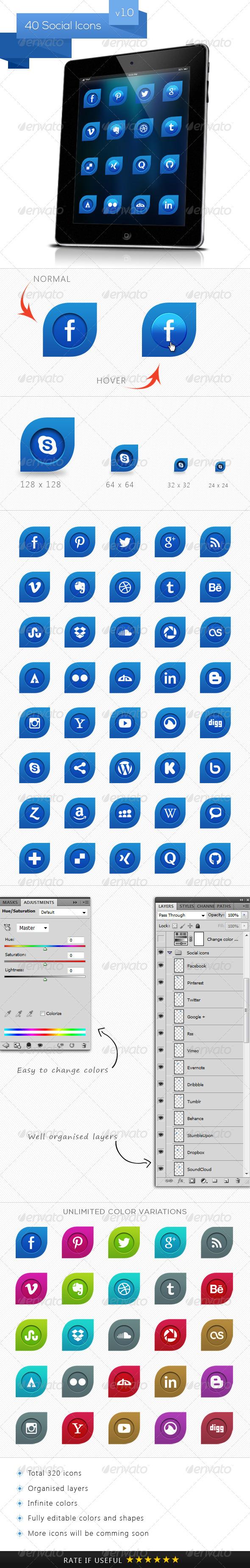 GraphicRiver Blue Leaf Social Icons 5080593