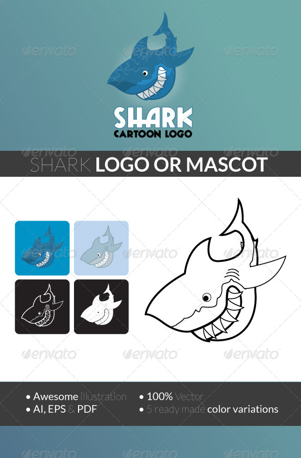GraphicRiver Shark Cartoon Logo 5038103