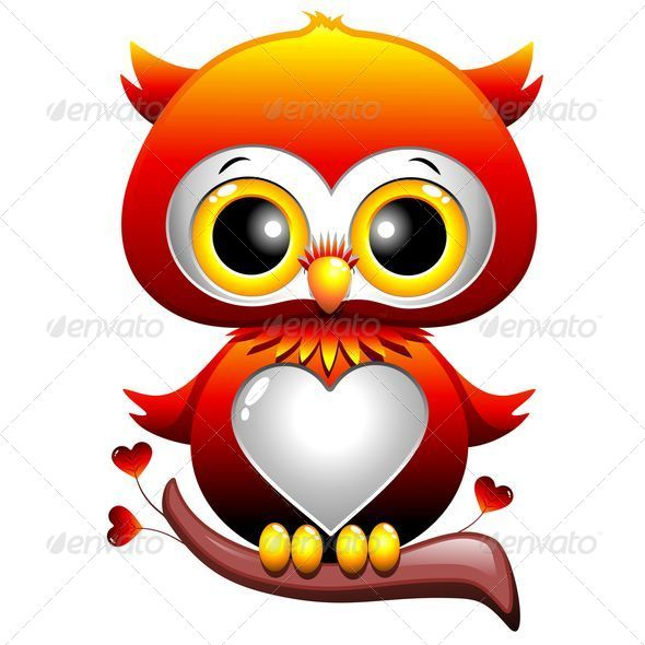 GraphicRiver Baby Owl Love Heart Cartoon 5080804