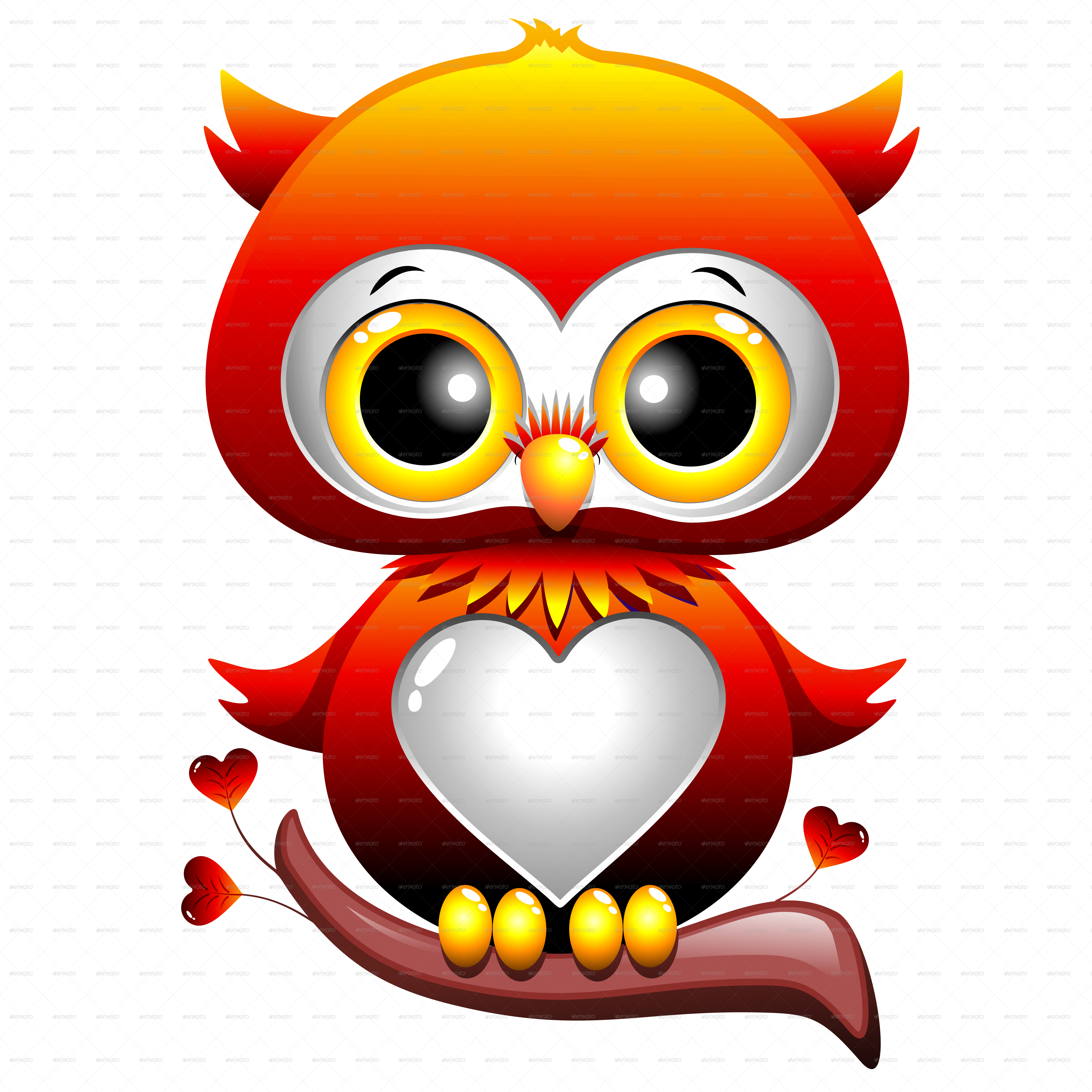 Baby Owl Love Heart Cartoon by Bluedarkat | GraphicRiver