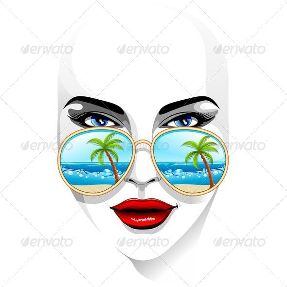 Girl s Portrait Wearing Sunglasses with Tropical