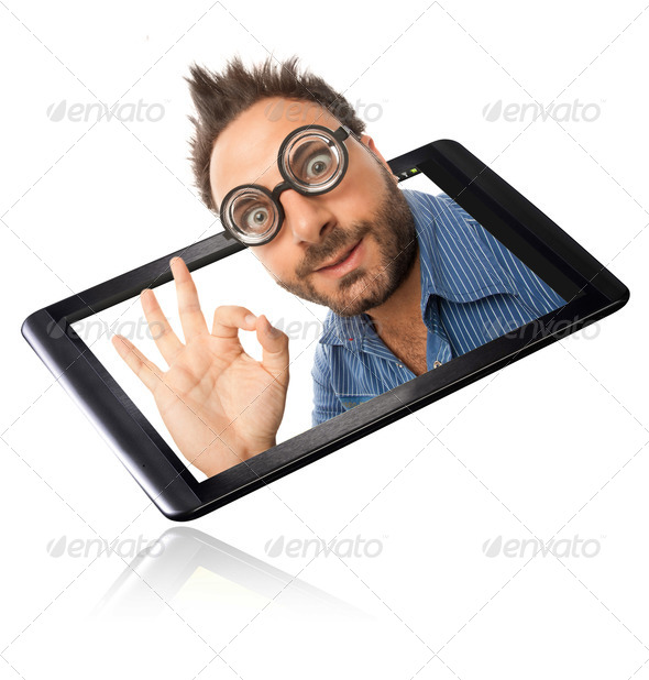 Wow expression with tablet - Stock Photo - Images