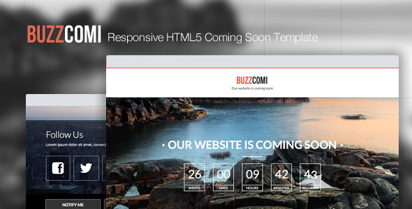 ThemeForest BuzzComi Responsive HTML5 Coming Soon Template 5082786