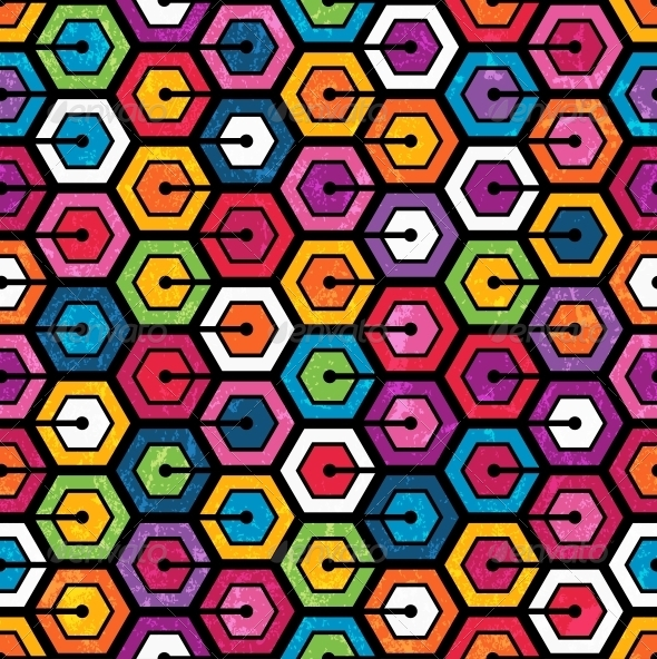 GraphicRiver Colorful Geometric Pattern with Hexagons 5083341