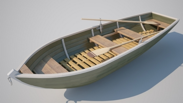 3DOcean Realistic Boat with Oars 5083457