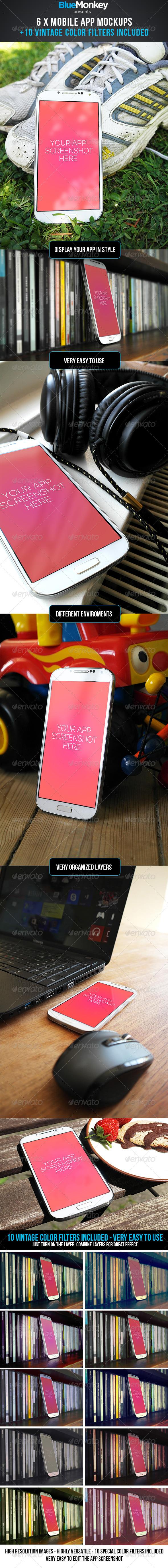 6 Phone App Mockups