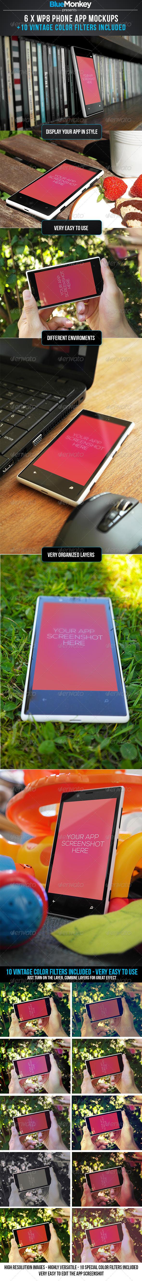 6 x WP8 Phone App Mockups