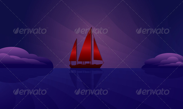 GraphicRiver Sailing Ship on the Night Skyline 5083867