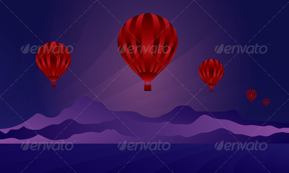 Air Balloon in the Night Sky