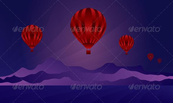 Air Balloon in the Night Sky