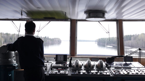 Navigation Officer Driving The Ship