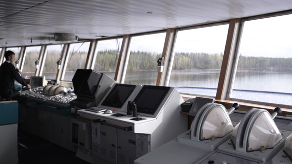 Navigation Officer Driving The Cruise Liner