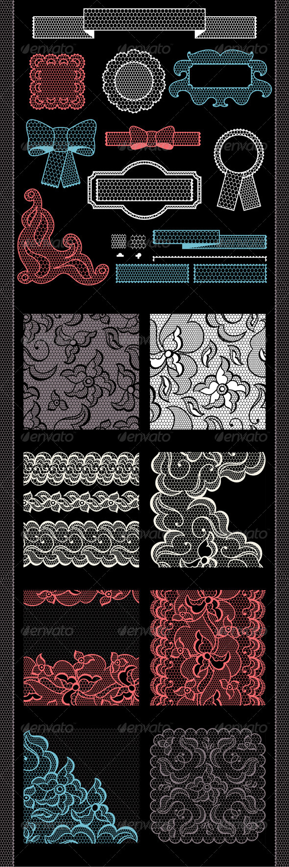 Lace Decorations and Seamless Patterns