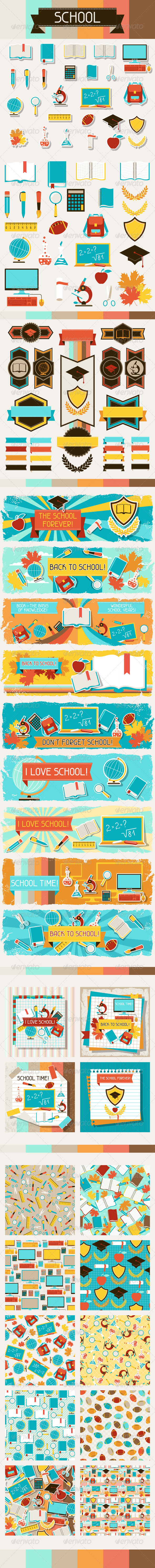 GraphicRiver School Icons Banners Cards and Patterns 5084232