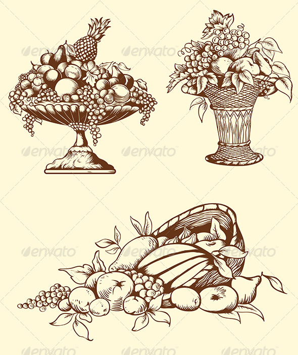 GraphicRiver Hand Drawn Vintage Fruits 5084270