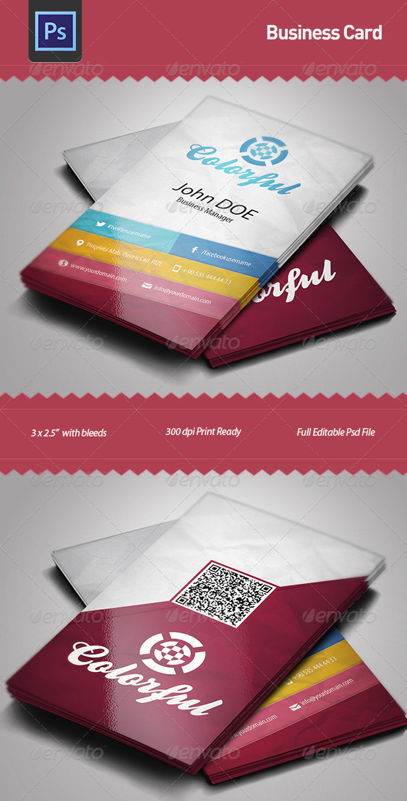 GraphicRiver Business Card Template Colorful 4975843