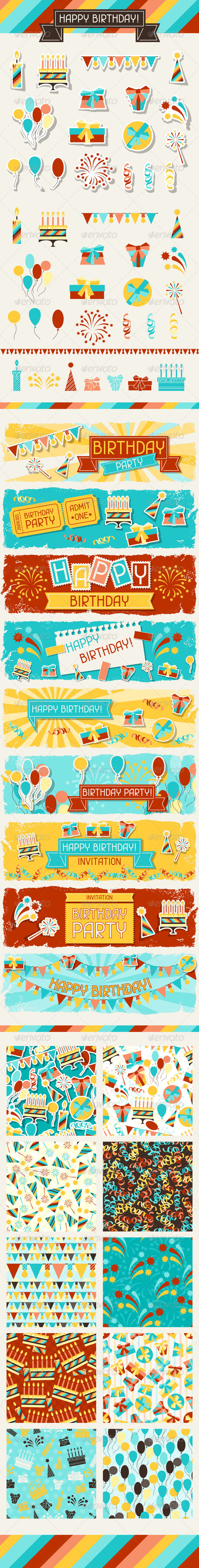 GraphicRiver Happy Birthday Icons Banners and Patterns 5084439