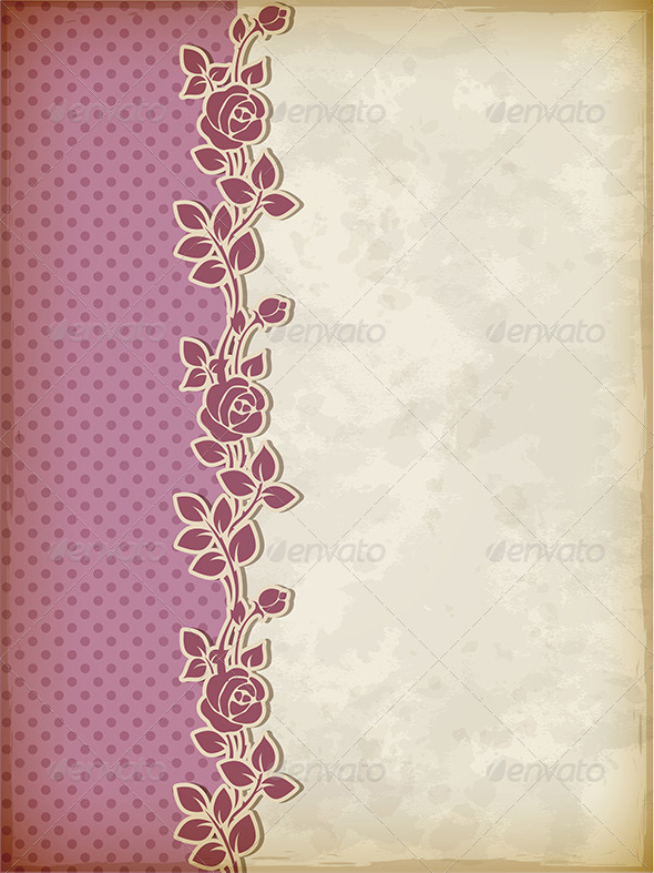 GraphicRiver Retro Background with Roses 5084443