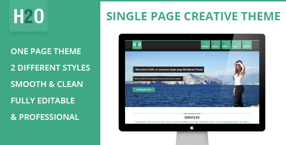 ThemeForest H2O Flat Styled Single Page Theme 5084661