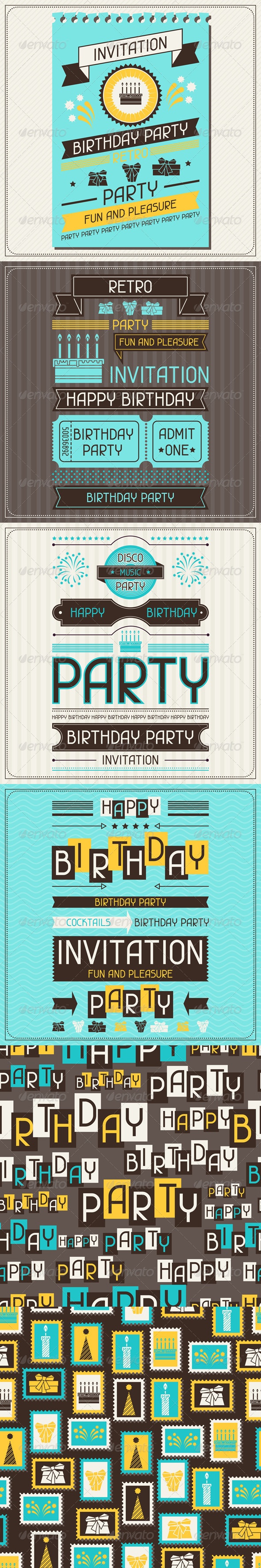 GraphicRiver Invitation Cards and Patterns for Birthday 5084740